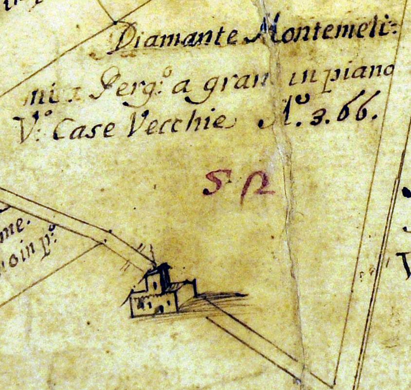 Antica mappa catastale del 1366 dove è già visibile la costruzione originale